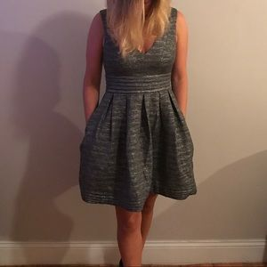Shoshanna silver party dress with pockets!